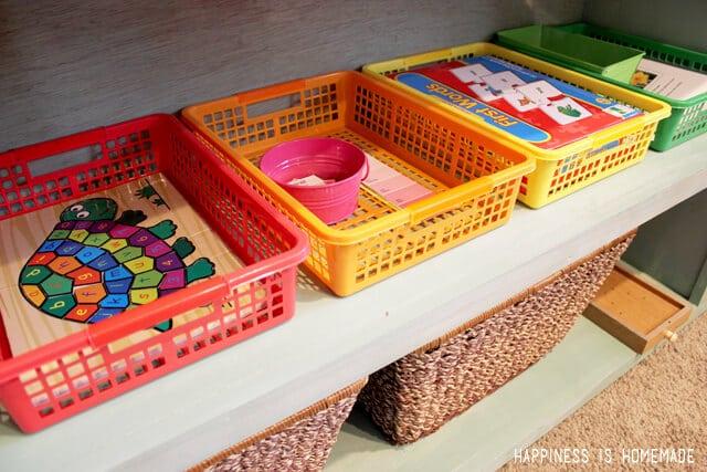 Preschool Activities Sorted into Organizer Baskets