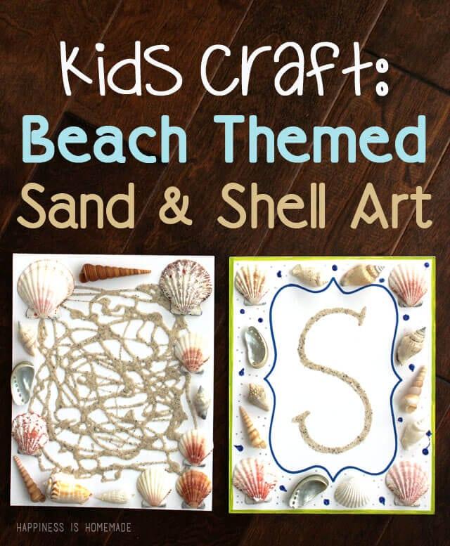 Kids Craft - Summer Beach Themed Sand and Shell Art