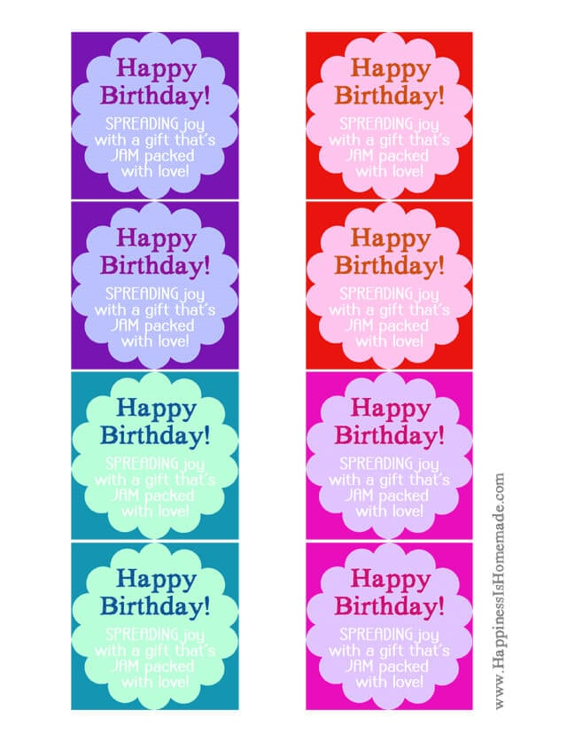 Printable Happy Birthday Jam and Jelly Labels