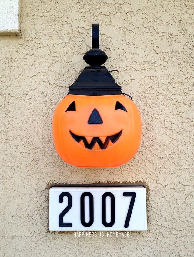 Halloween Pumpkin Porch Light Daytime