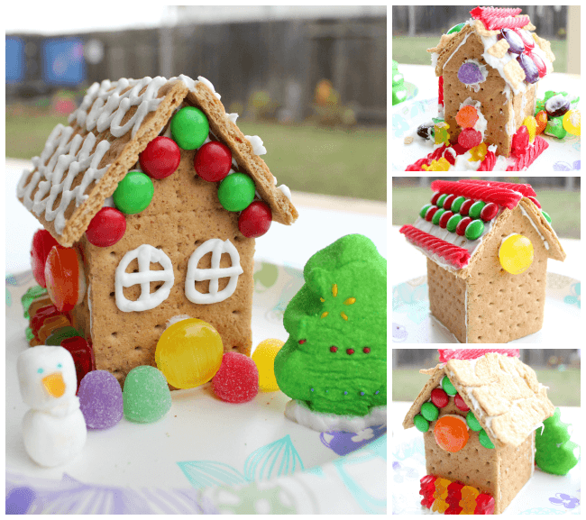 Decorated Gingerbread Houses Made with Honey Maid Graham Crackers