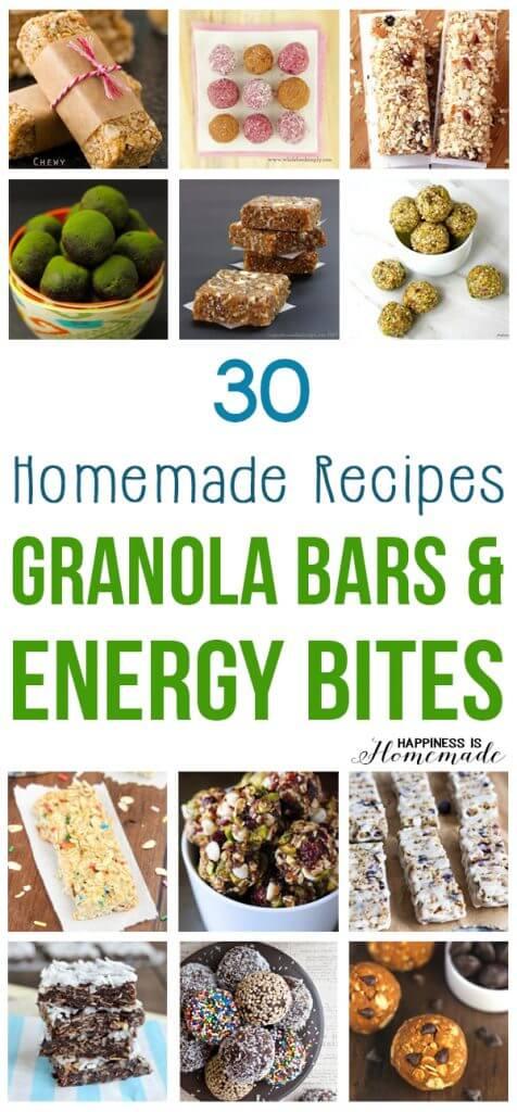 30 Homemade Granola Bar and Energy Bites Recipes