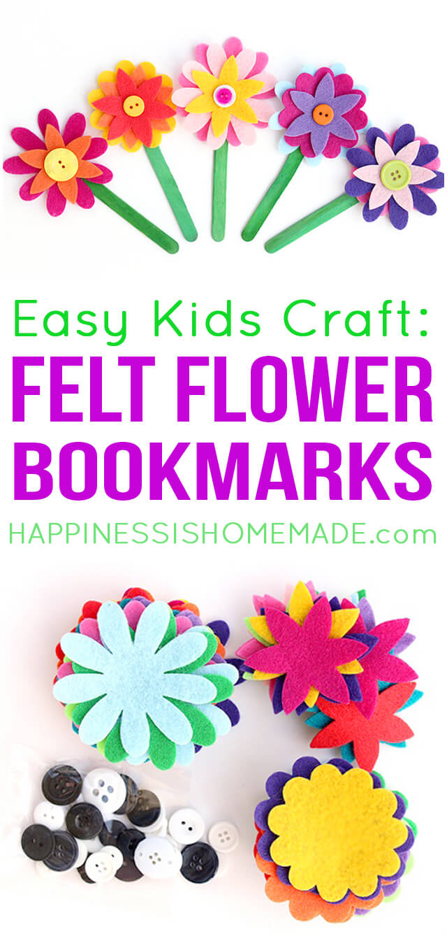 These felt flower bookmarks are the cutest! Plus, they're super quick and easy to make, so they're the perfect craft for kids of all ages!
