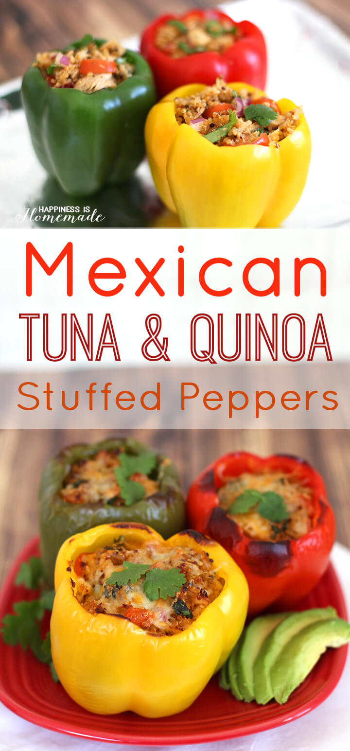 Mexican Quinoa and Tuna Stuffed Bell Peppers