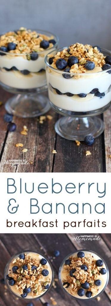 Bluberry Banana Yogurt Breakfast Parfait Recipe