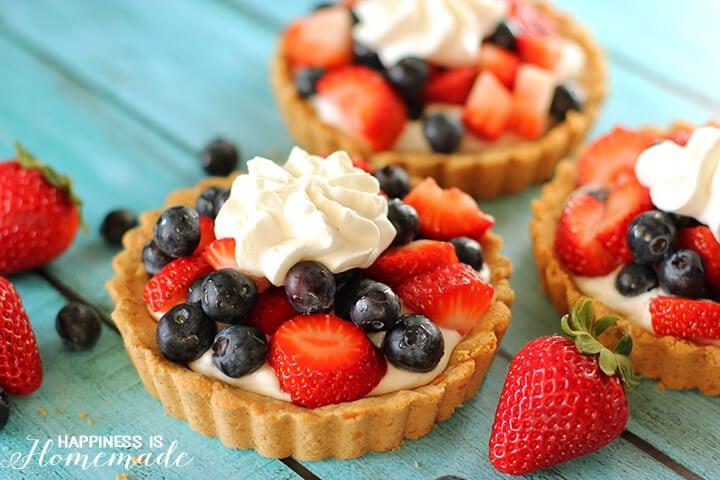 Fresh Berries and Cream Fruit Tart with Grain Free Shell Crust