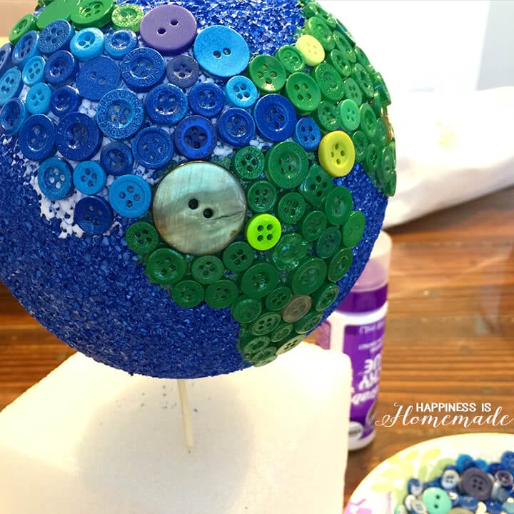 Gluing Buttons on a Button Globe