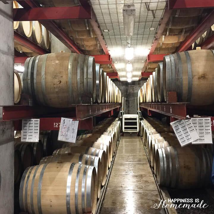 Wine Barrels in the Sonoma-Cutrer Wine Cave