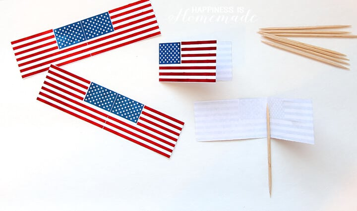 How to Make Foil Flag Cupcake Pick Toppers for 4th of July