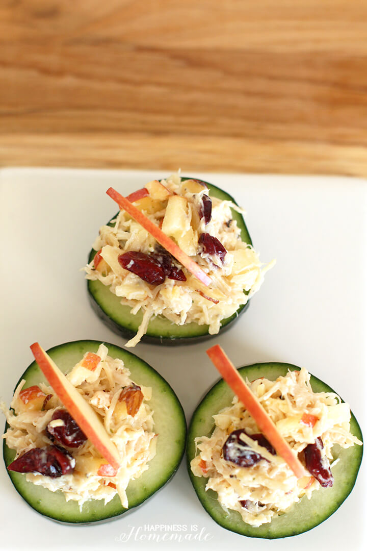 Cranberry Apple Almond Chicken Salad with Cucumber Cups