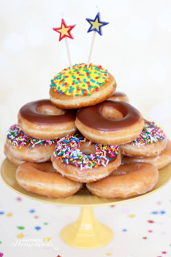 Krispy Kreme Donut Birthday Cake - Happiness is Homemade