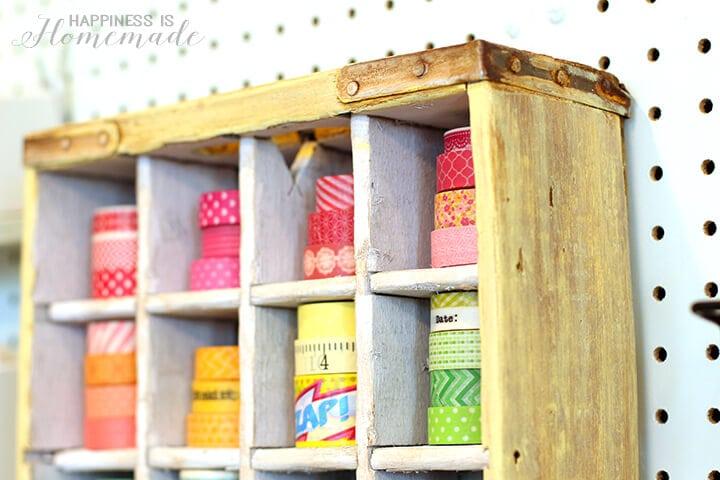 Soda Crate Washi Tape Storage Shelf