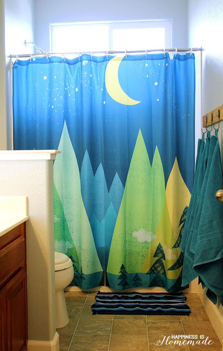 Adventure Bathroom with Mountain Shower Curtain