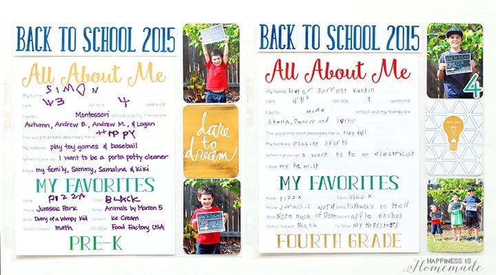 All About Me Back to School Scrapbook Layouts