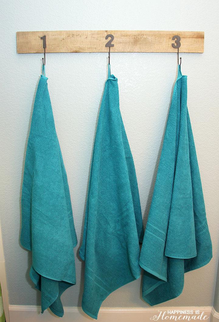 DIY Scrap Wood and Metal Numbered Towel Hooks