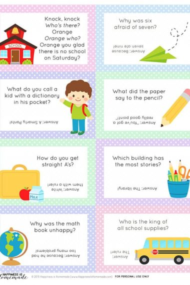 Printable Back to School lunchbox note cards