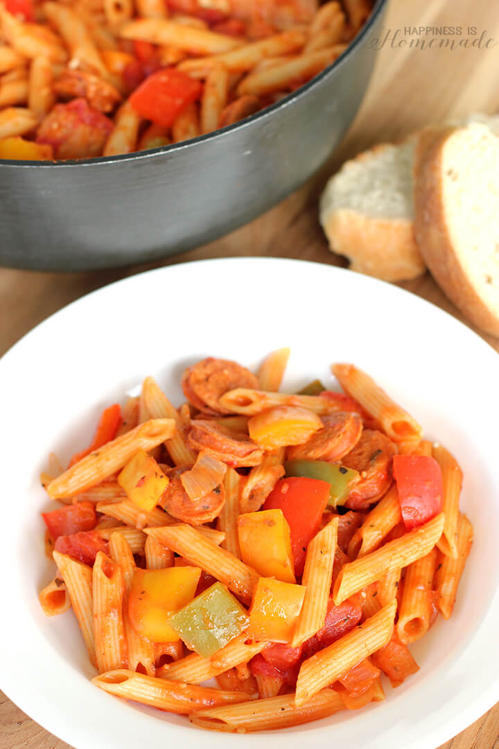 30 Minute Meals - Chicken Sausage Cacciatore Pasta Recipe