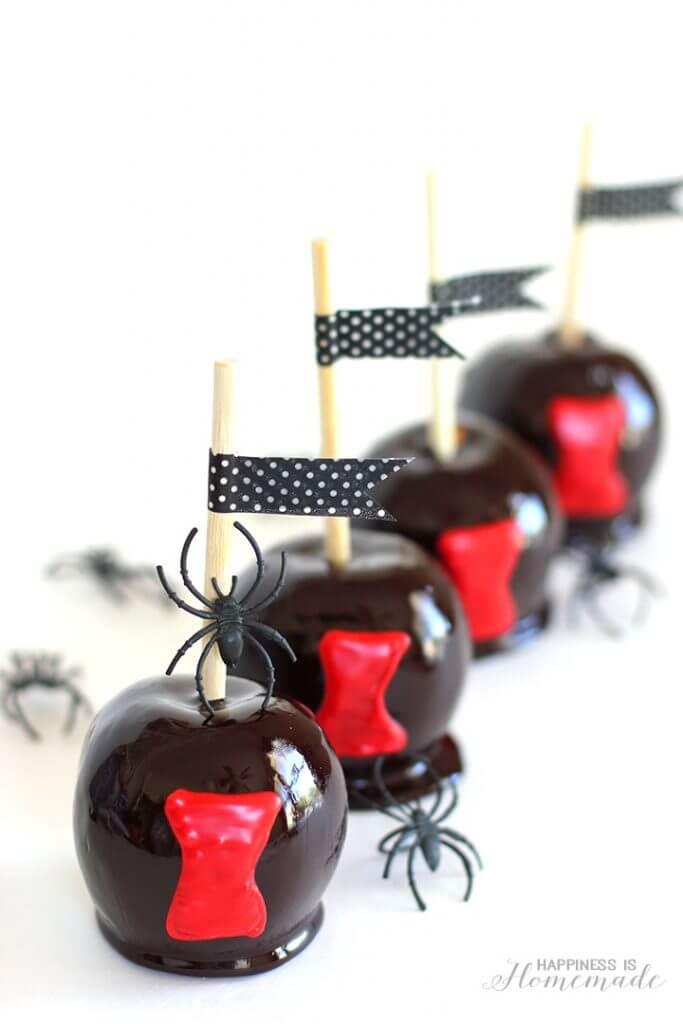 Black Widow Spider Candy Apples Halloween Treat Recipe