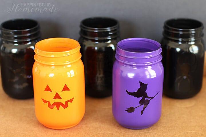 Painted Halloween Treat Jars