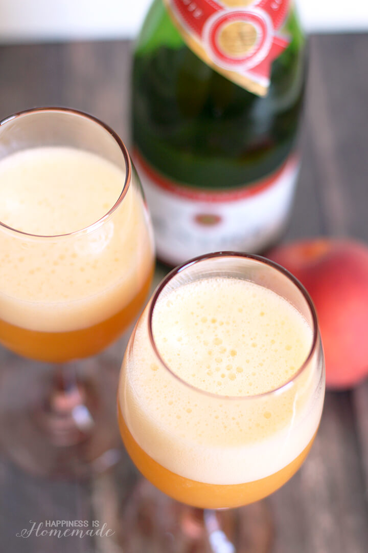 Peach Bellini Cocktail with Andre Champagne