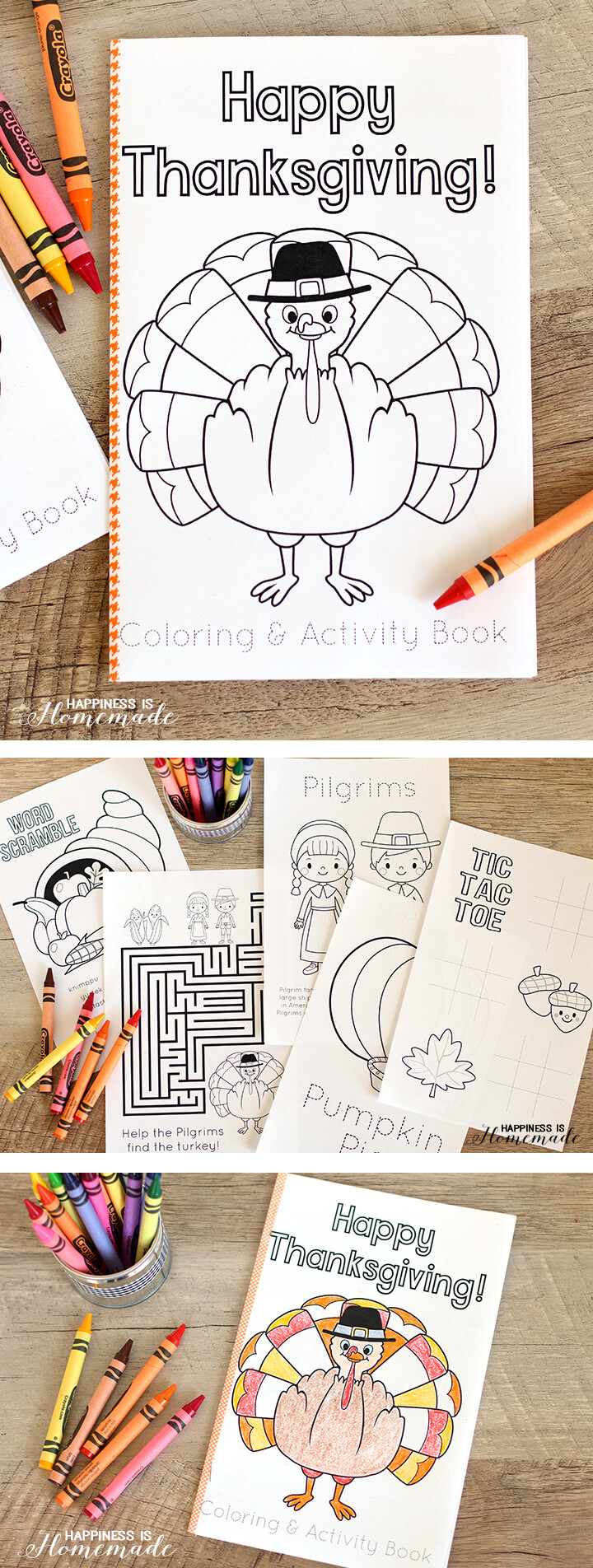 Thanksgiving Coloring & Activity Book - Happiness is Homemade | printable coloring book for kids.