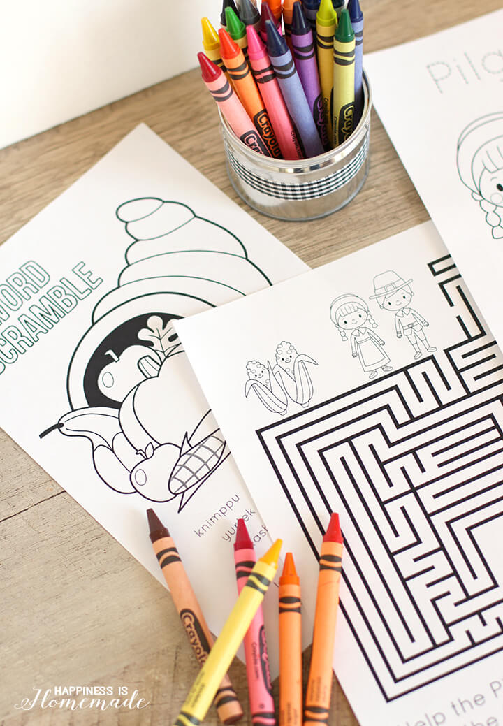 Printable Thanksgiving Coloring Book for the Kids Table