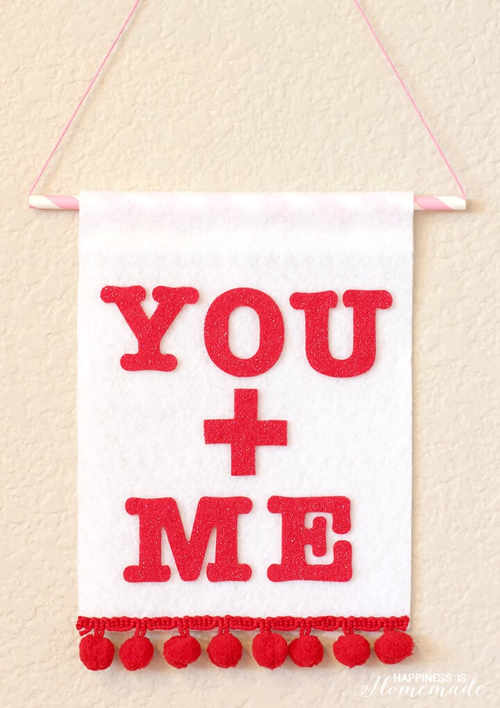 You + Me Valentine's Day Felt Wall Banner