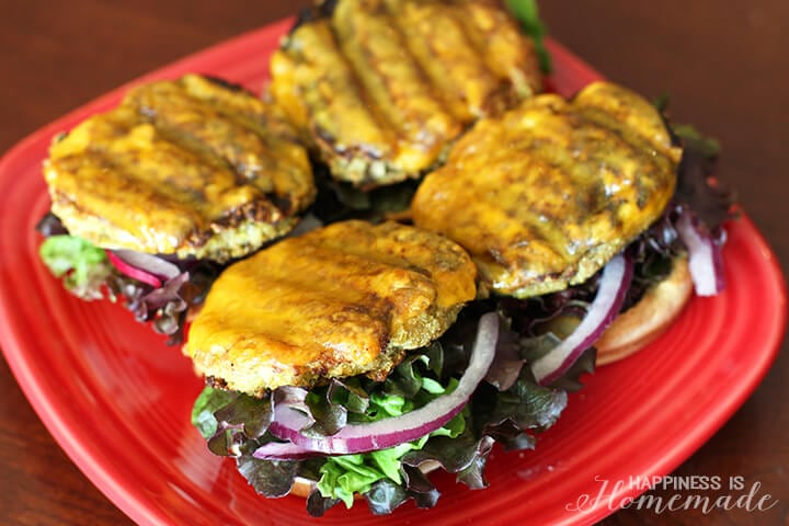 Cauliflower and Mushroom Veggie Patty Melts Sliders