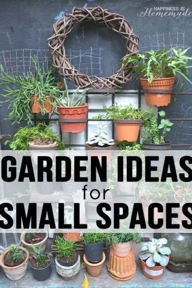 Garden ideas for small spaces with metal rack containing terra cotta pots with plants inside
