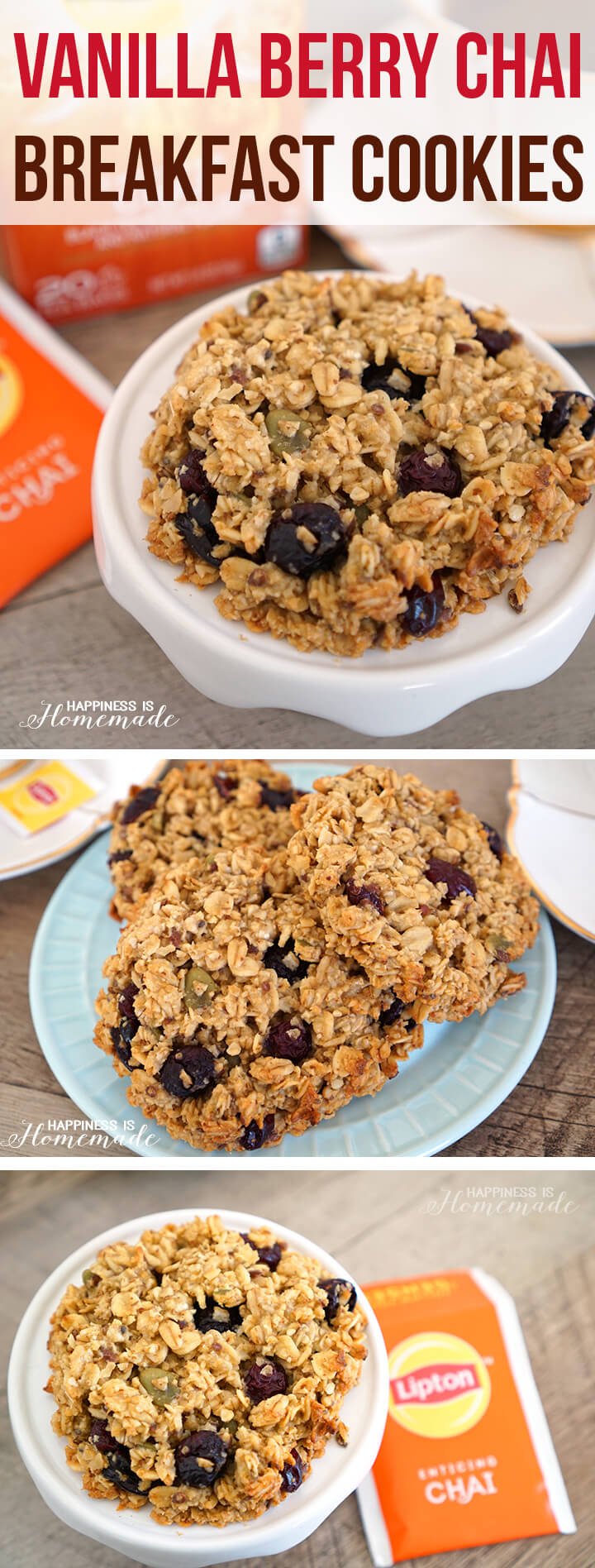 Vanilla Berry Chai Breakfast Cookies are a Healthy On-the-Go Meal