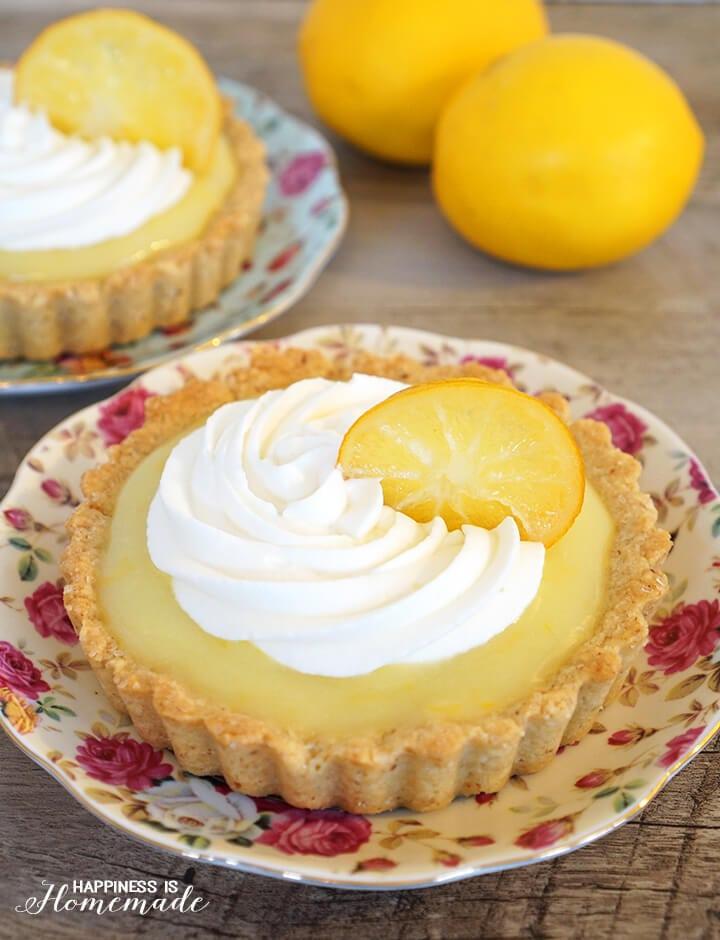 Lemon Tart with Candied Lemon Slice and Vanilla Almond Shortbread