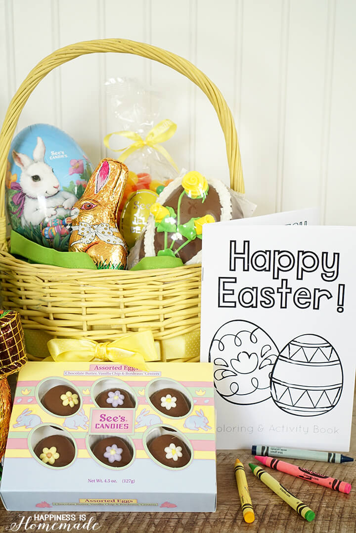 See's Candy Easter Basket with Free Printable Coloring and Activity Book