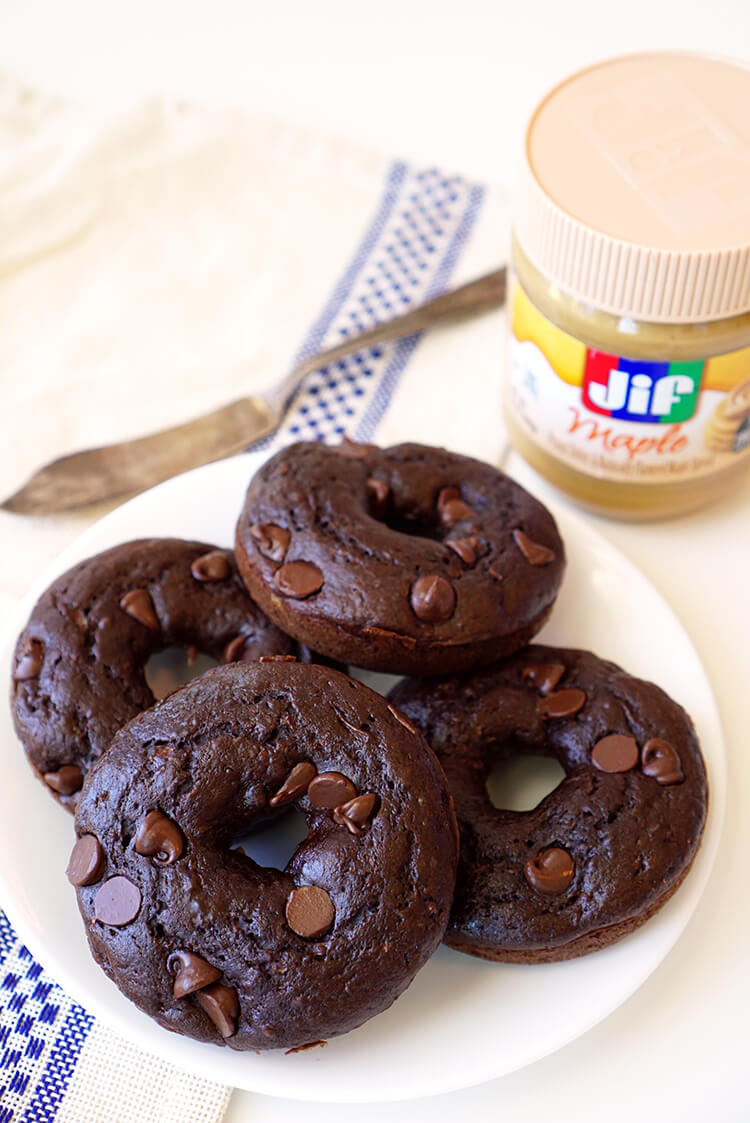 Chocolate Donuts and Maple Peanut Butter Spread