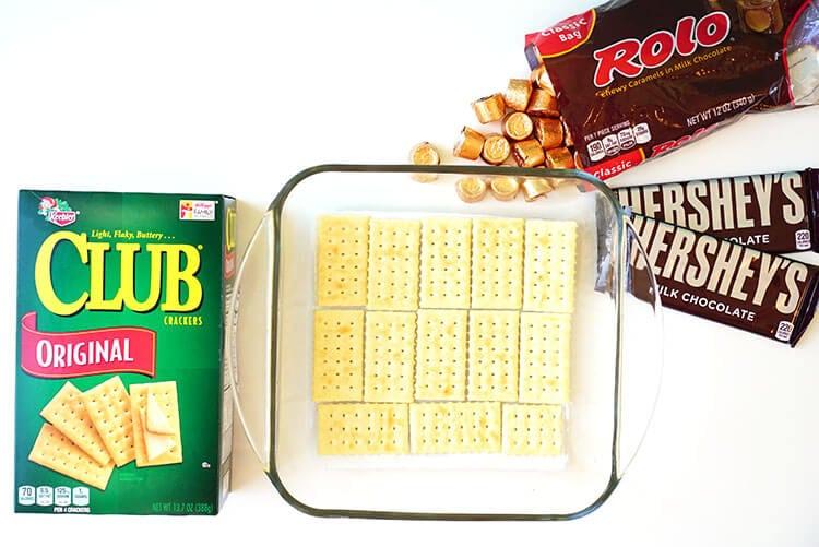 Ingredients to Make Caramel Chocolate Cracker Candy Bars