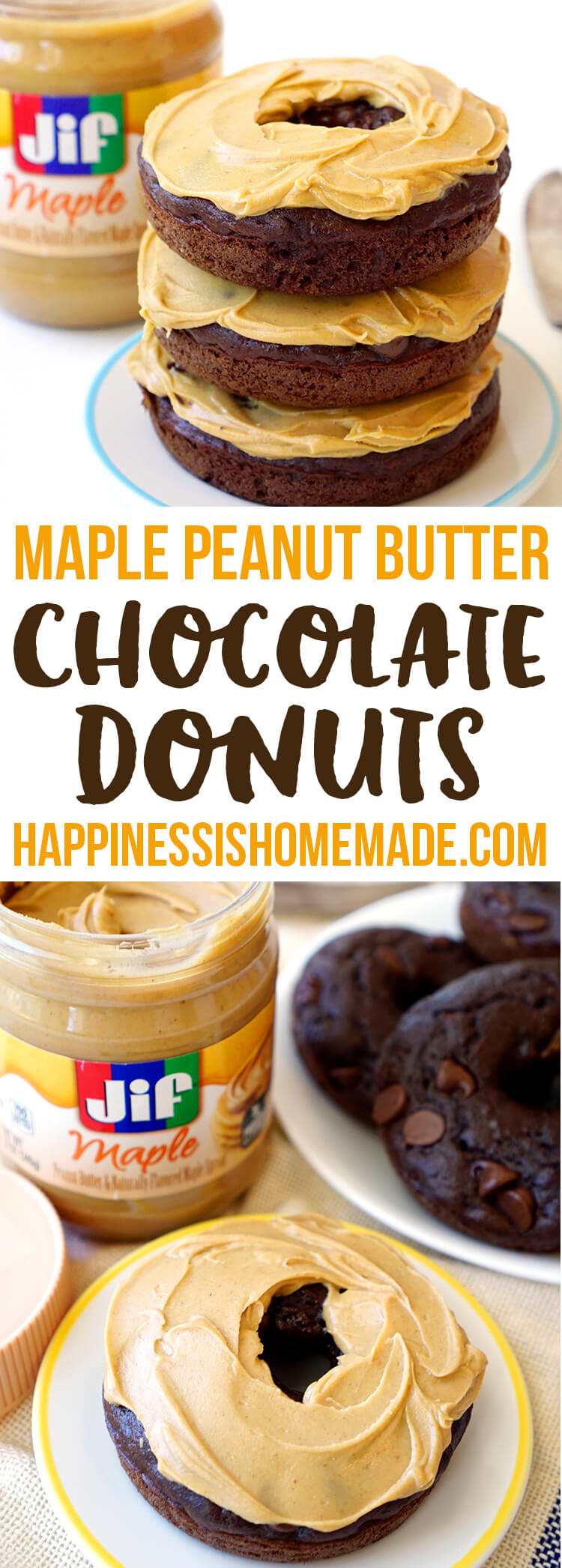 Maple Peanut Butter Double Chocolate Donuts