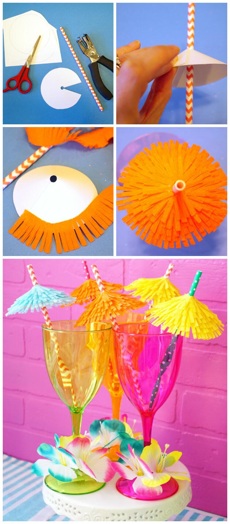 Quick DIY Tiki Drink Umbrellas - Super Cute and Easy Party Idea