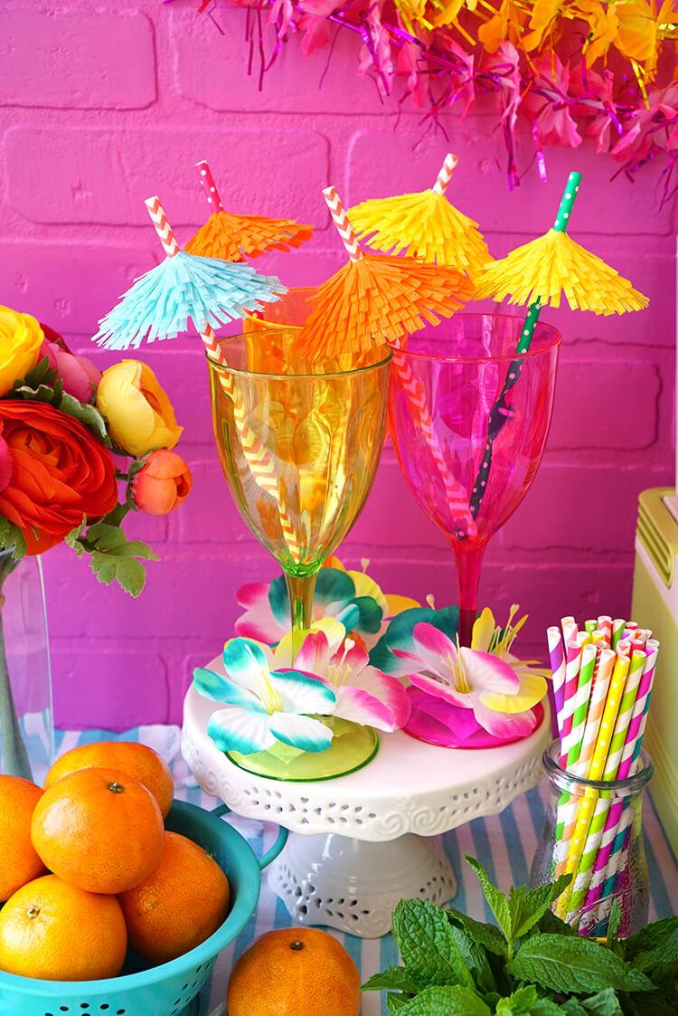 Tiki Drink Umbrellas and Fruit Juice Cocktails
