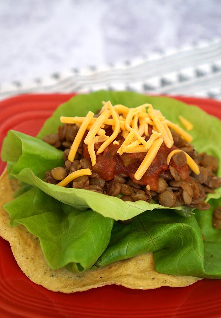lentil-taco-meat-tostada