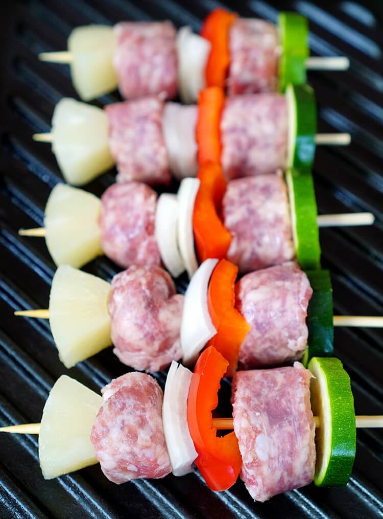 Brat and Veggie Skewers on the Grill