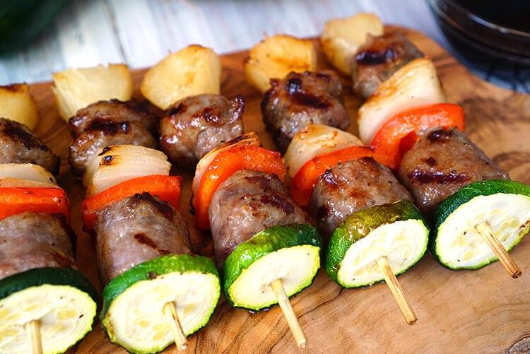 Veggie and Brat Kebab Kabob Skewers Appetizer