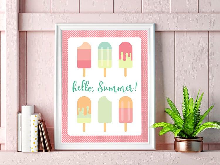 Hello Summer Printable Popsicle Art