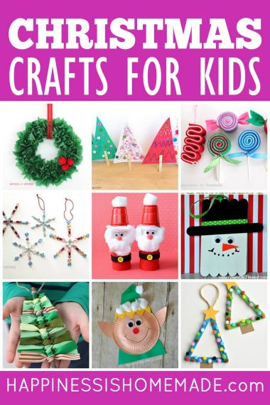 "Collage of 9 Christmas kids crafts and ""Christmas Crafts for Kids"" text on magenta background"