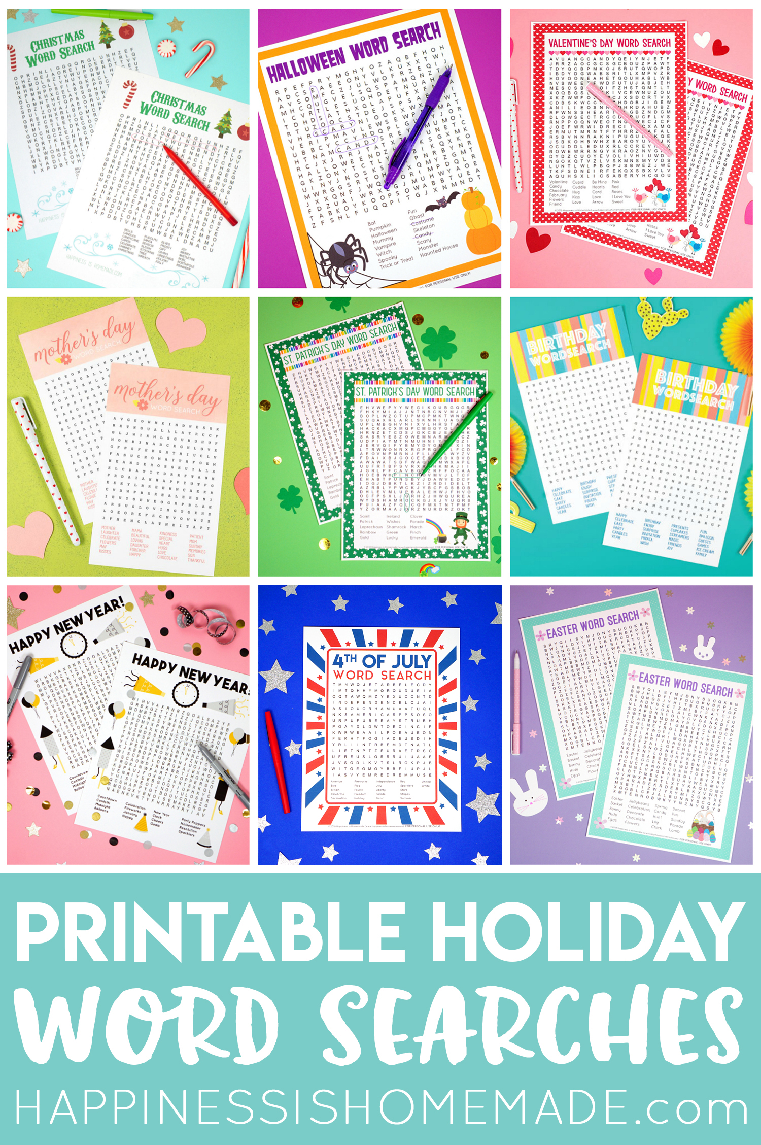 Holiday Word Search Printables