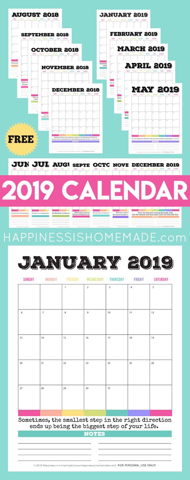 Printable monthly calendars by canva with every month comes a chance to turn a new leaf. 2019 Free Printable Calendar - Printable Monthly Calendar ...
