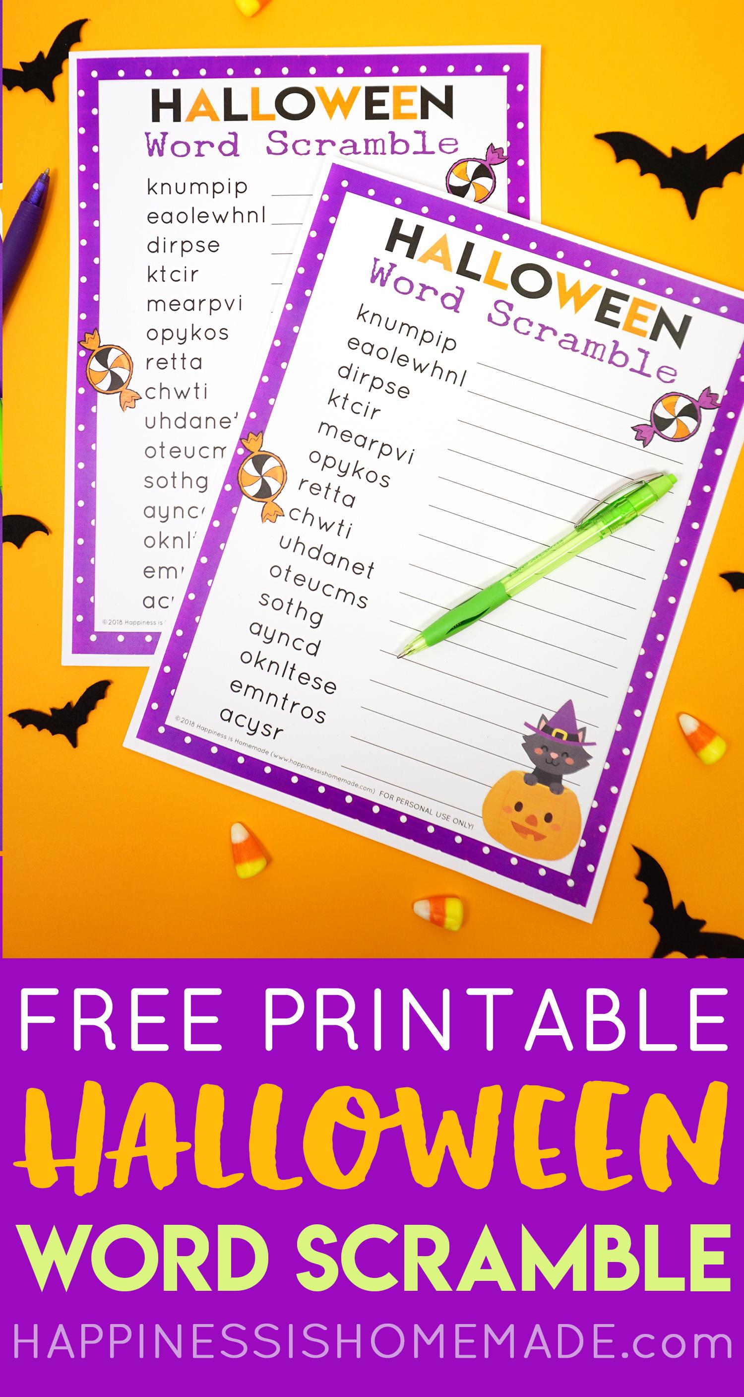 Halloween Word Scramble For Kids