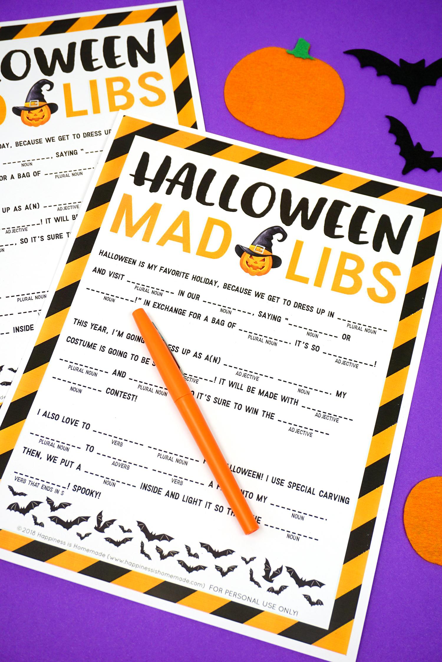 Halloween Mad Libs Printable That Are Comprehensive