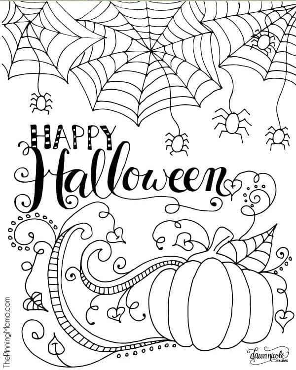 Happy Halloween coloring page from The Pinning Mama