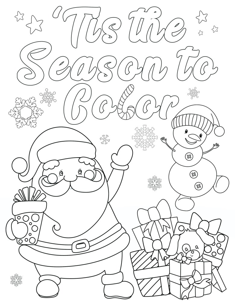 free christmas coloring pages for adults and kids - happiness is