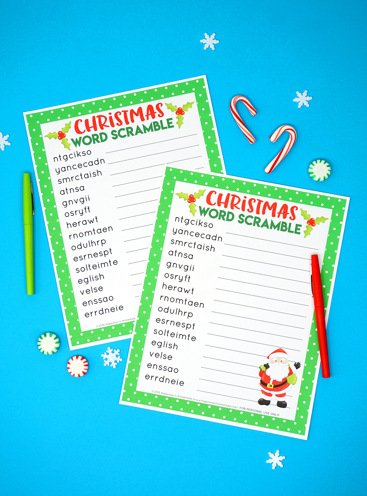 Christmas Word Scramble Printable
