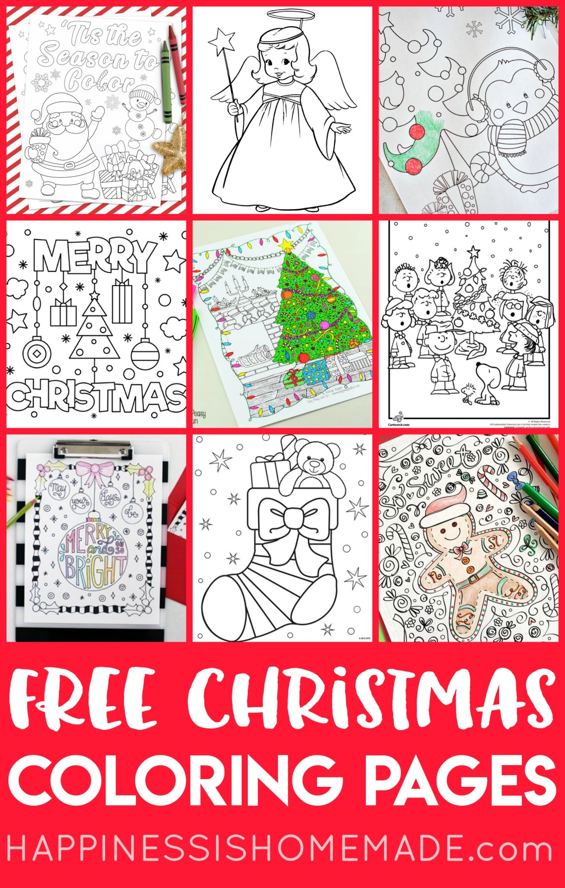 FREE Christmas Coloring Pages for Adults and Kids ... | free full size printable christmas coloring pages for adults